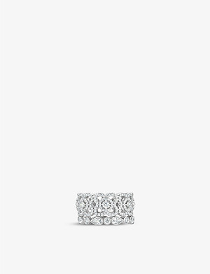 DE BEERS Enchanted Lotus white-gold and diamond ring