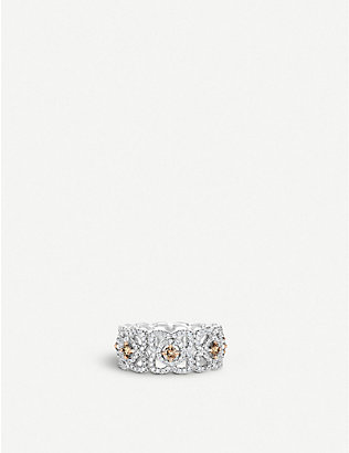 DE BEERS: Enchanted Lotus 18ct white-gold and diamond ring