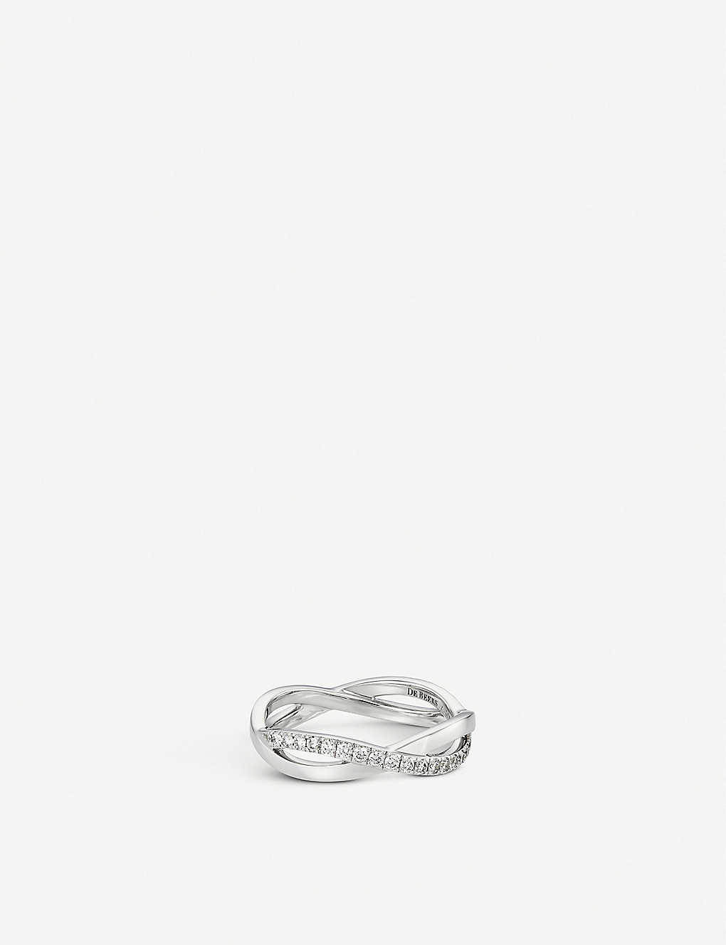 DE BEERS: Infinity white-gold and pavé diamond ring