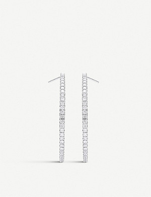 DE BEERS Micropavé 18ct white-gold and diamond hoop earrings