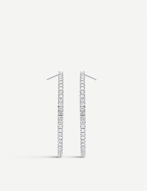 DE BEERS: Micropavé 18ct white-gold and diamond hoop earrings