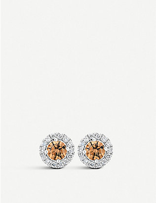 DE BEERS: Aura Fancy coloured diamond stud earrings