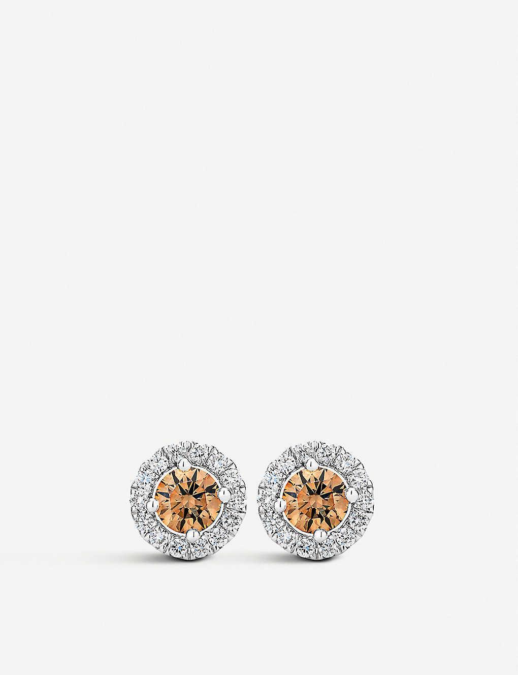 d3a088033 DE BEERS - Aura Fancy coloured diamond stud earrings | Selfridges.com