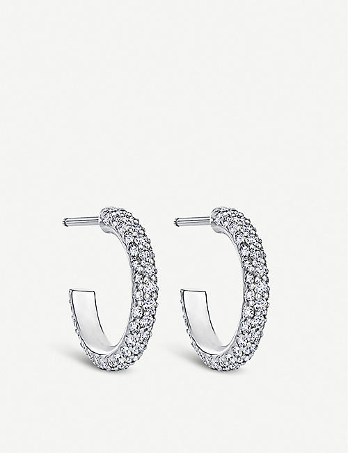DE BEERS Three row 18ct white-gold and diamond micropavé hoop earrings