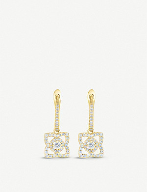 DE BEERS Enchanted Lotus 18ct yellow-gold and diamond sleeper earrings