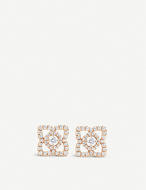 DE BEERS Enchanted Lotus 18ct pink-gold and diamond earrings