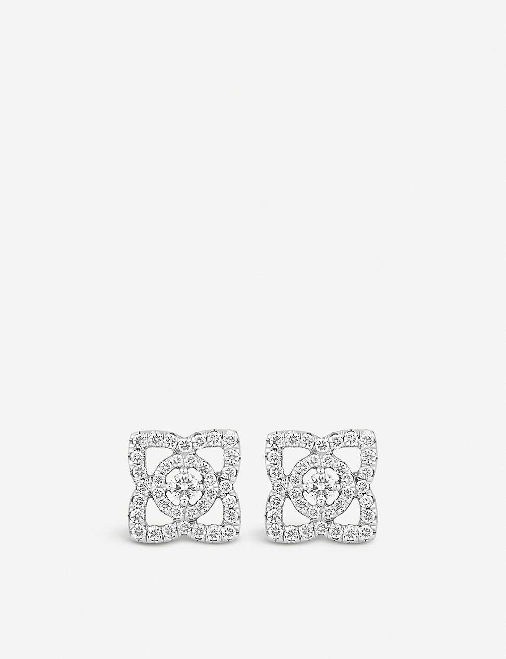 DE BEERS: Enchanted Lotus 18ct white-gold and diamond earrings