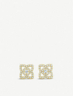 DE BEERS Enchanted Lotus 18ct yellow-gold and diamond earrings