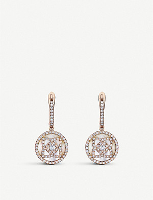 DE BEERS Enchanted Lotus 18ct rose-gold, diamond and mother-of-pearl sleeper earrings
