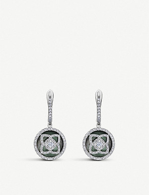 DE BEERS Enchanted Lotus 18ct white-gold, diamond and mother-of-pearl sleeper earrings
