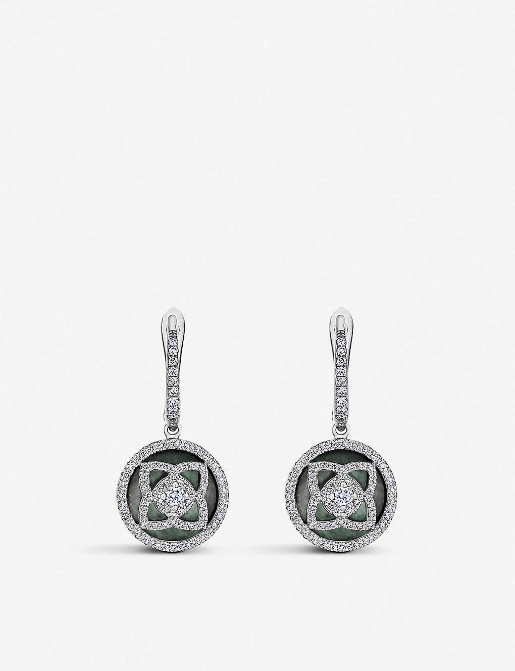DE BEERS: Enchanted Lotus 18ct white-gold, diamond and mother-of-pearl sleeper earrings