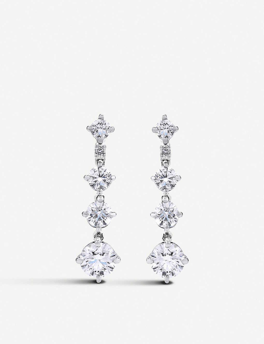 DE BEERS: Arpeggia One-Line 18ct white-gold and diamond drop earrings