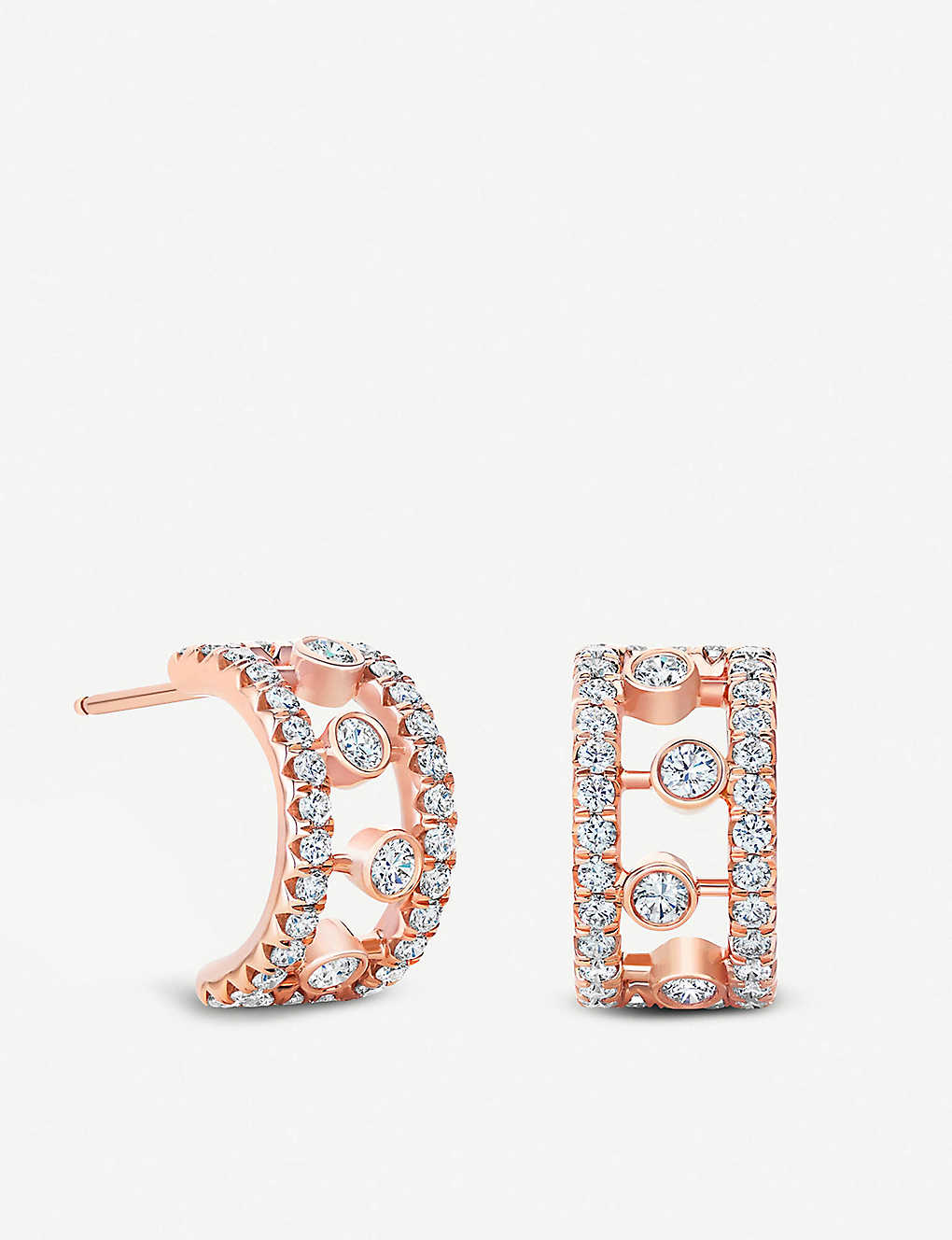 DE BEERS: Dewdrop 18ct rose gold diamond earrings