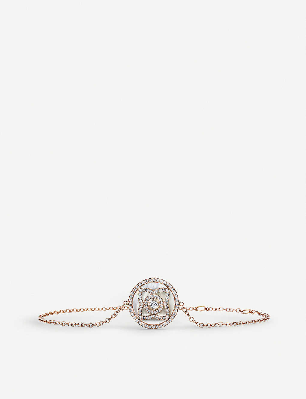 DE BEERS: Enchanted Lotus 18ct rose-gold, diamond and mother-of-pearl bracelet
