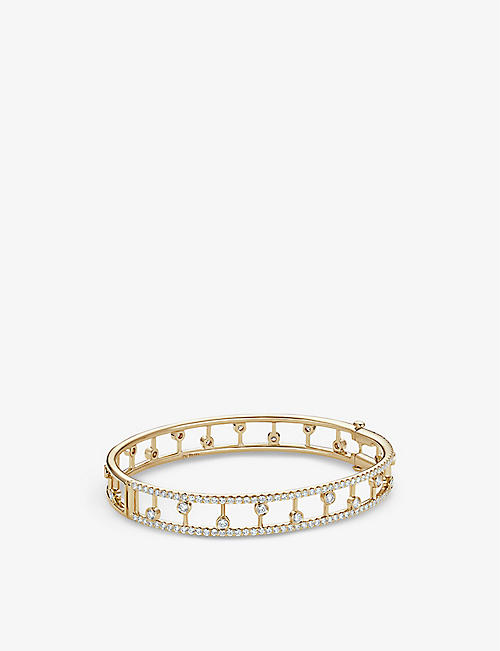 DE BEERS: Dewdrop 18ct yellow-gold and diamond band bracelet