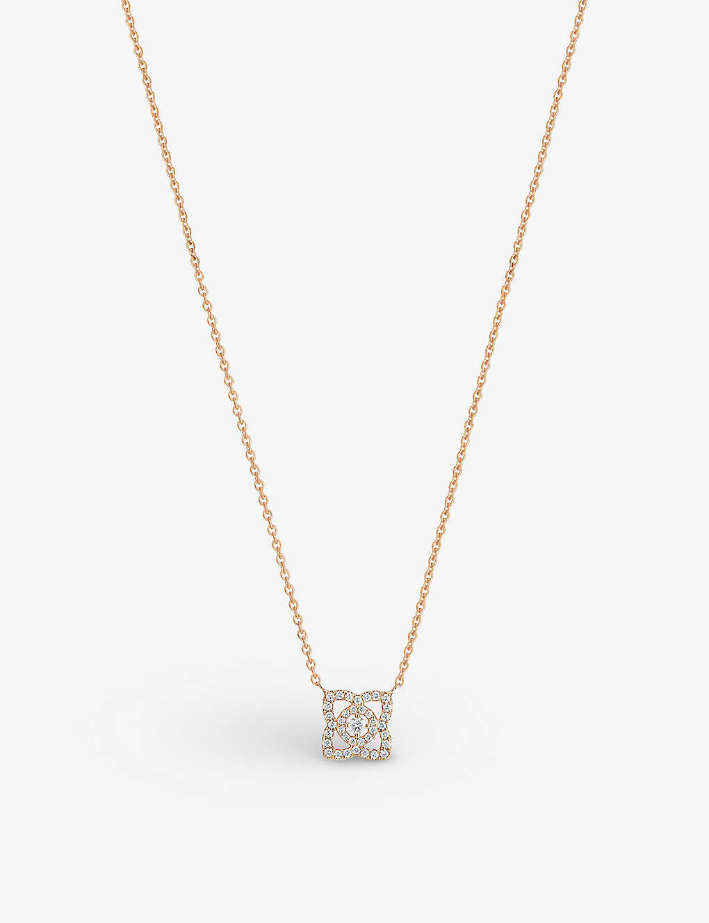b83e7dd3363736 DE BEERS - Enchanted Lotus 18ct pink-gold and diamond pendant ...