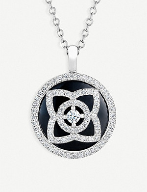 DE BEERS Enchanted Lotus 18ct white-gold, diamond and tourmaline reversible pendant