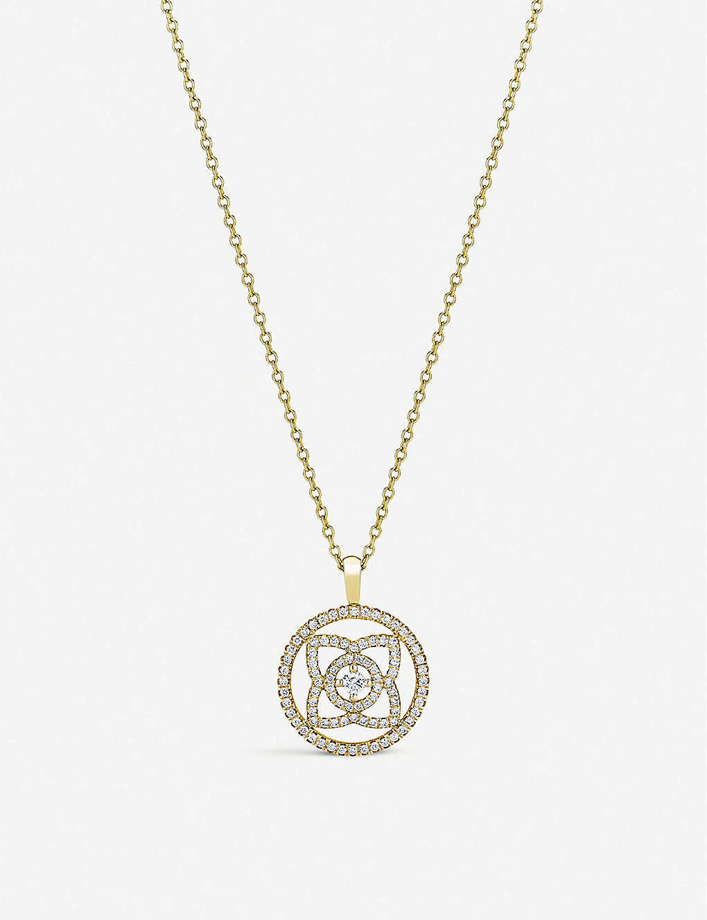 DE BEERS: Enchanted Lotus 18ct yellow-gold and diamond pendant
