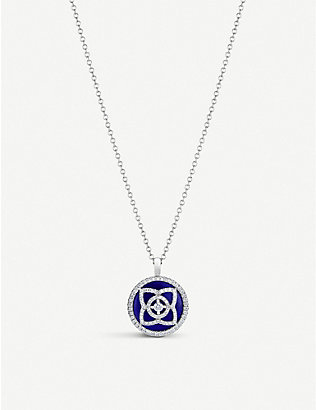 DE BEERS: Enchanted Lotus 18ct white-gold, diamond and lapis lazuli pendant necklace