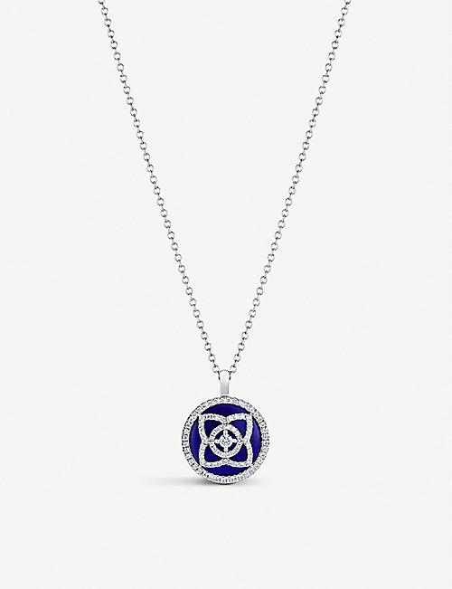 DE BEERS Enchanted Lotus 18ct white-gold, diamond and lapis lazuli pendant necklace