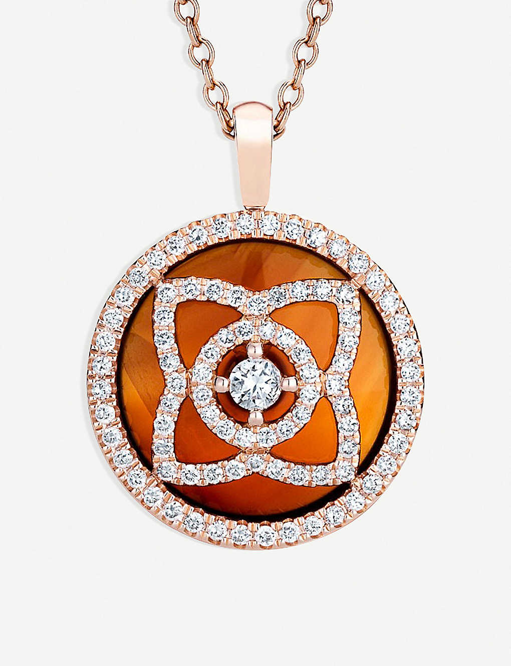 DE BEERS: Enchanted Lotus 18ct pink-gold, diamond and carnelian reversible pendant