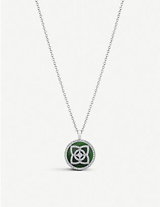 DE BEERS: Enchanted Lotus 18ct white-gold, diamond and jade pendant necklace