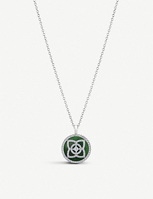 DE BEERS Enchanted Lotus 18ct white-gold, diamond and jade pendant necklace