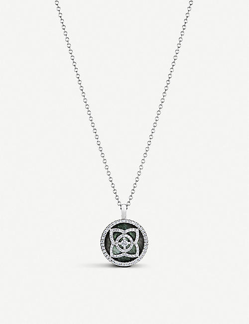DE BEERS: Enchanted Lotus 18ct white-gold, diamond and Mother of Pearl pendant necklace