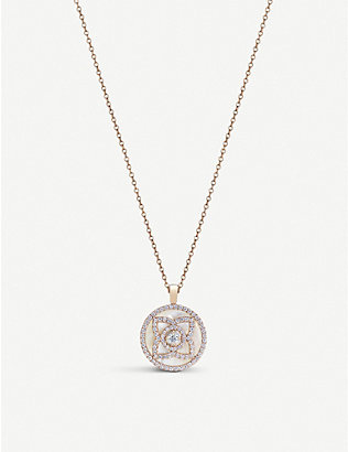 DE BEERS: Enchanted Lotus 18ct rose-gold, diamond and white Mother of Pearl pendant necklace