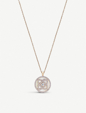 DE BEERS Enchanted Lotus 18ct rose-gold, diamond and white Mother of Pearl pendant necklace