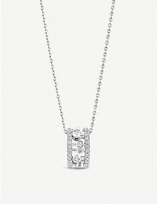 DE BEERS: Dewdrop 18ct white-gold and diamond pendant necklace