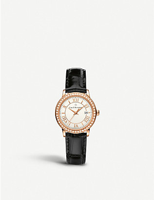 CARL F BUCHERER: 00.10312.03.15.11 Adamavi rose-gold sapphire crystal diamond and leather watch