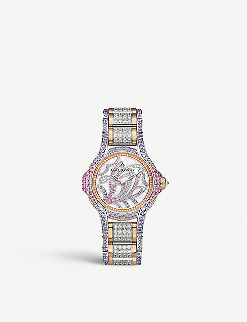 CARL F BUCHERER: 00.10590.09.90.31 Pathos Swan Limited Edition 18ct rose-gold, diamond and sapphire watch