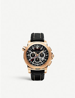 CARL F BUCHERER: 00.10620.03.33.01 Patravi TravelTech 18ct rose-gold and leather strap watch