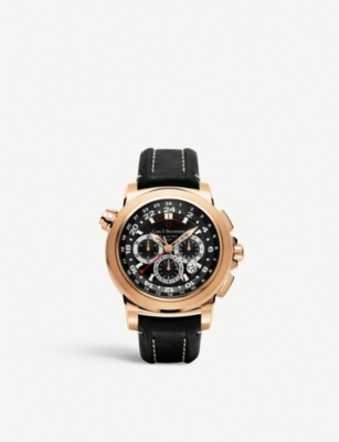 CARL F BUCHERER 00.10620.03.33.01 Patravi TravelTech 18ct rose-gold and leather strap watch