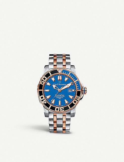 CARL F BUCHERER: 00.10632.24.53.21 Patravi ScubaTec stainless steel and 18ct rose-gold watch