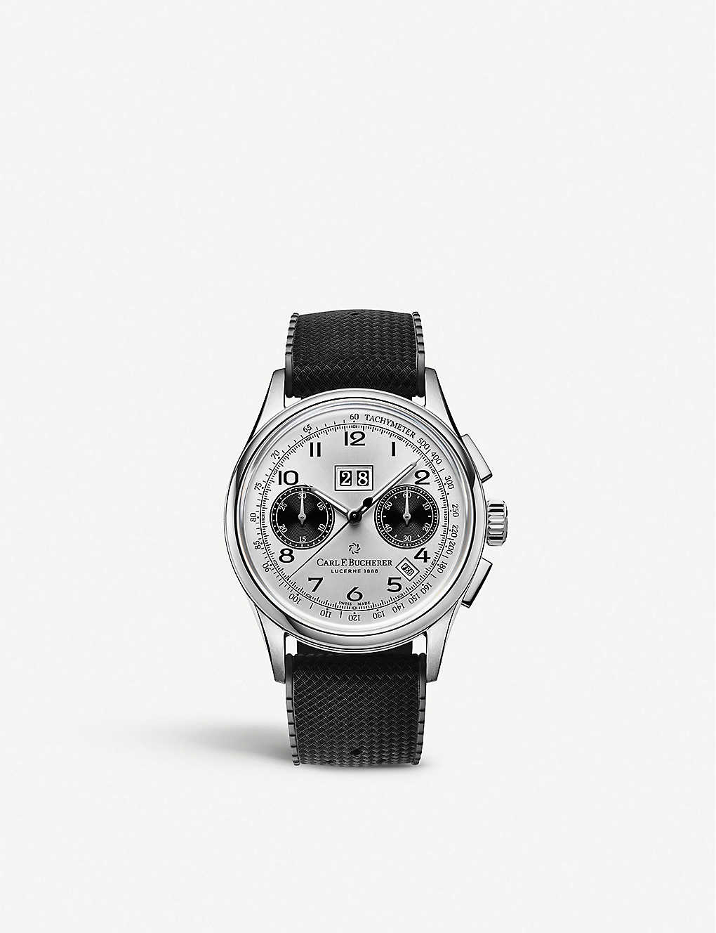 CARL F BUCHERER: 00.10803.08.12.01 Heritage BiCompax Annual stainless steel and rubber watch
