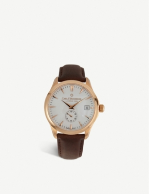 CARL F BUCHERER 00.10921.03.23.01 Manero 18ct rose-gold and leather strap watch