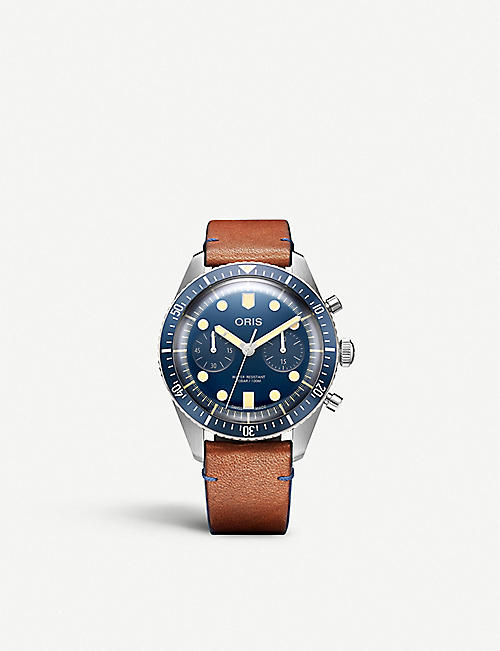 ORIS:01 771 7744 4095-Set LS Sixty-Five Chronograph Bucherer Blue Edition 不锈钢皮革表带腕表