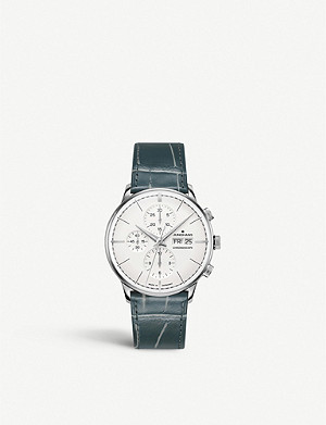 JUNGHANS 027/4729.00 Meister Chronoscope Terrassenbau stainless steel and leather strap watch