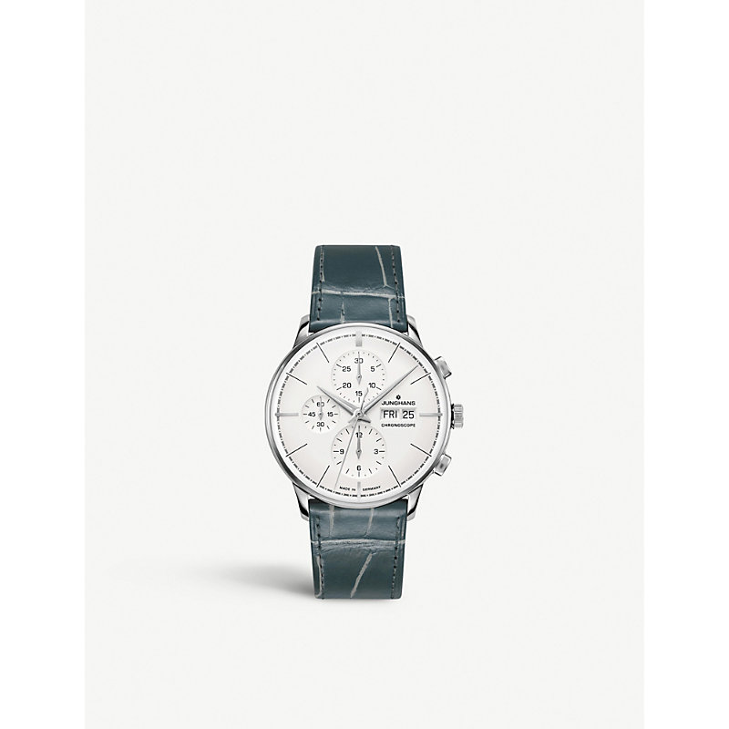 JUNGHANS 027/4729.00 Meister Chronoscope Terrassenbau Stainless Steel And Leather Strap Watch in Silver