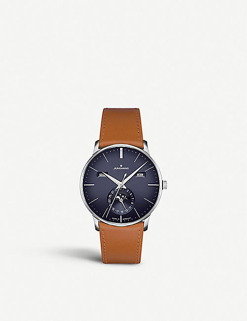 JUNGHANS 027/4906.01 Meister Kalendar stainless steel and leather watch