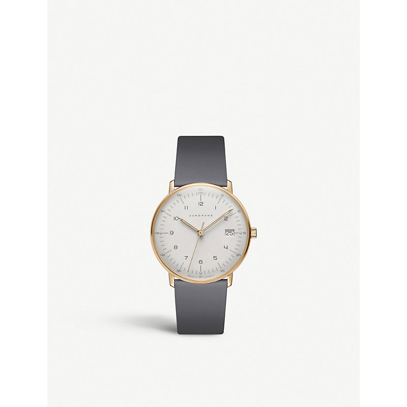 JUNGHANS 027/7806.00 Max Bill Automatic Gold-Plated And Leather Strap Watch in Silver