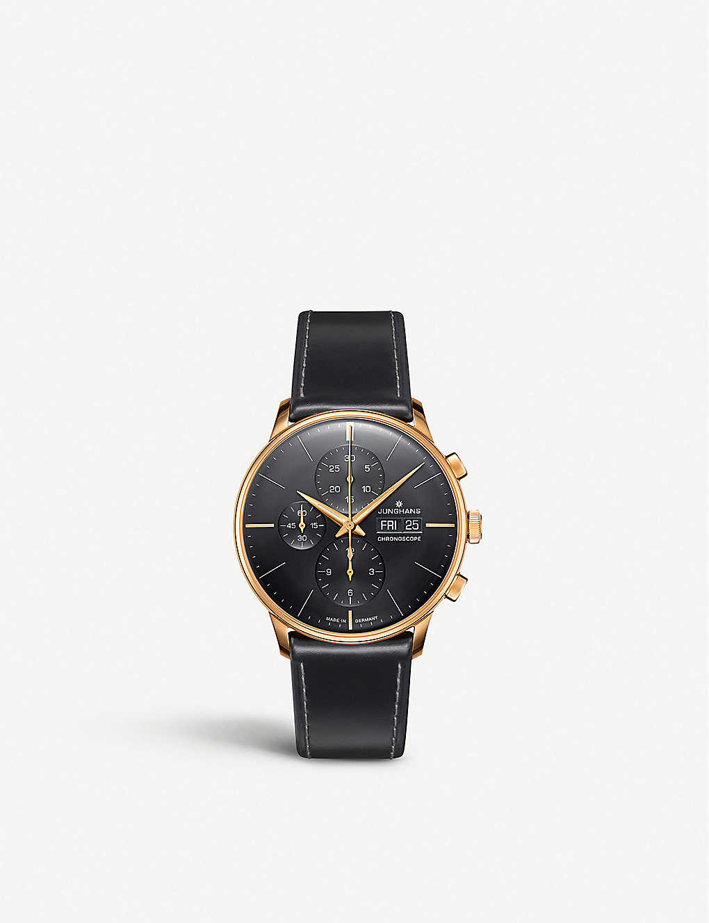 JUNGHANS: 027/7923.01 Meister Chronoscope rose gold-plated stainless steel and leather watch