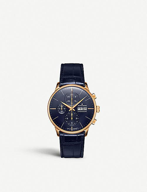JUNGHANS Meister Chronoscope rose gold-plated stainless steel and leather watch