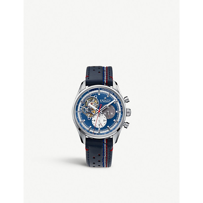 Zenith 03.2040.4061/52.c700 Chronomaster El Primero Open 1969 Stainless Steel And Leather Watch In Blue