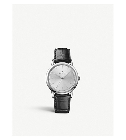 Zenith 03.2290.679/01.c493 Elite Classic Stainless-steel And Leather Watch In Black