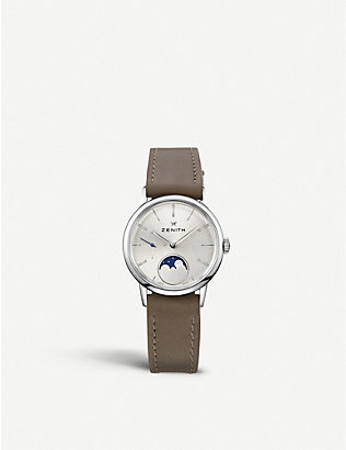 ZENITH: 03.2330.692/01.C714 Elite Lady Moonphase alligator-leather watch