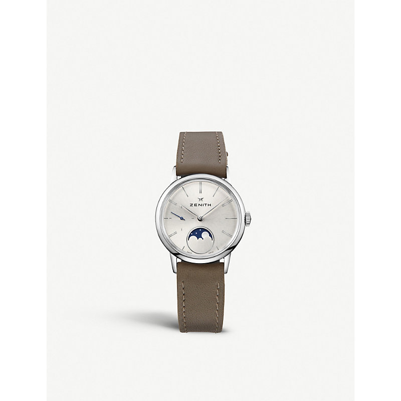 Zenith 03.2330.692/01.c714 Elite Lady Moonphase Leather Watch In Silver/black