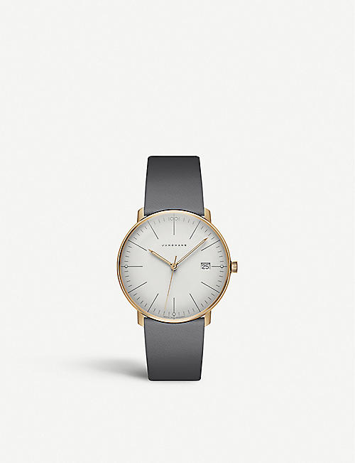 JUNGHANS: 047/7853.00 Max Bill Ladies stainless steel and leather watch